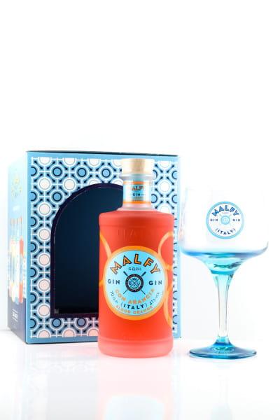 Malfy Gin con Arancia 41%vol. 0,7l - Geschenkset mit Glas