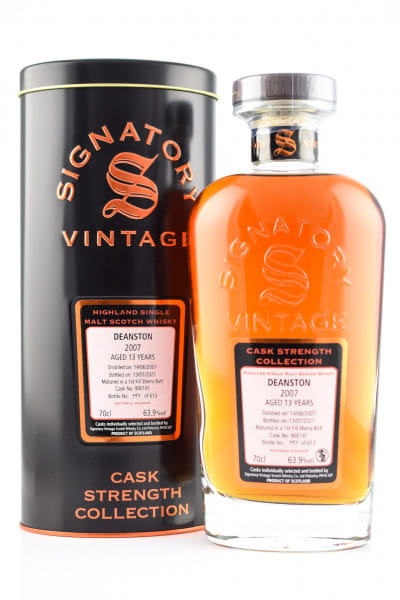 Deanston 13 Jahre 2007/2021 1st-fill Sherry Butt #900141 Signatory Cask strength Coll. 63,9%vol. 0,7l
