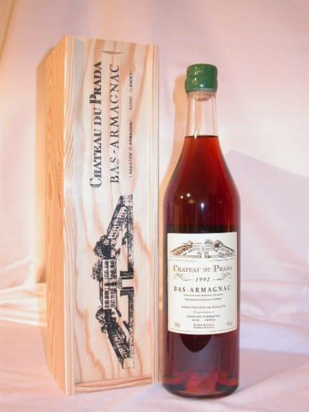 Chateau du Prada 1992 Bas Armagnac 44%vol. 0,7l mit Holzkiste