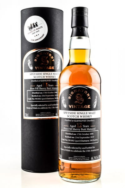 Glenlivet 12 Jahre 1st-fill Sherry Butt 15th Anniversary Home of Malts Signatory 46,3%vol. 0,7l