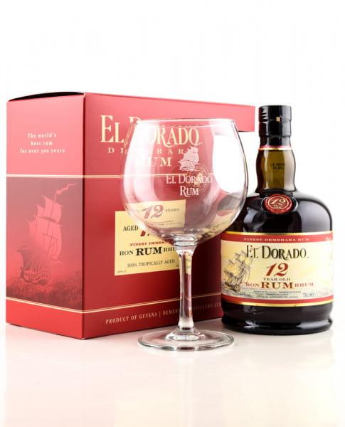 El Dorado 12 Jahre 40%vol. 0,7l mit Glas