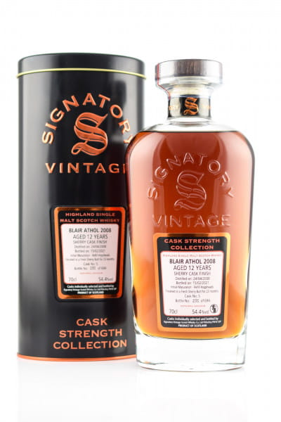 Blair Athol 12 Jahre 2008/2021 Fresh Sherry Butt #5 Finish Signatory Cask strength Coll. 54,5%vol. 0,7l