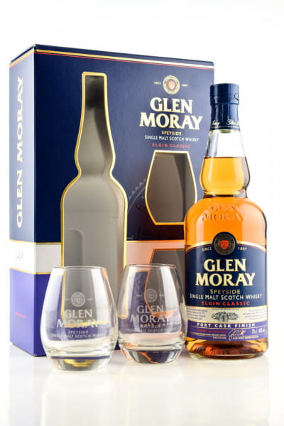 Glen Moray Port Cask Finish 40%vol. 0,7l mit 2 Gläsern