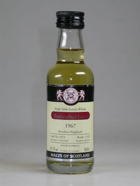 Bunnahabhain 1967/2010 Bourbon Hogshead Malts of Scotland 41,1%vol. 0,05l