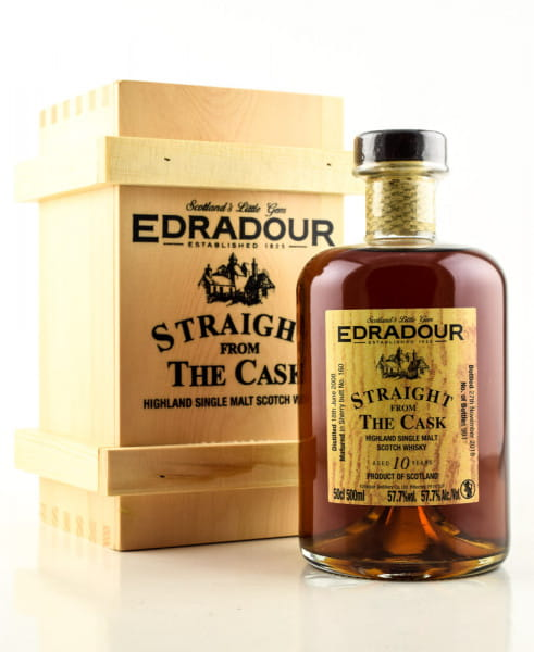 "Edradour 10 Jahre 2008/2018 ""Straight from the Cask"" Sherry Butt #160 57,7%vol. 0,5l"