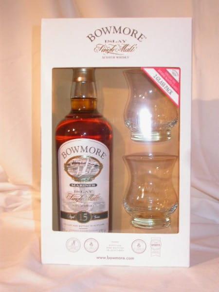 Bowmore 15 Jahre Mariner 43%vol. 0,7l mit 2 Gläsern