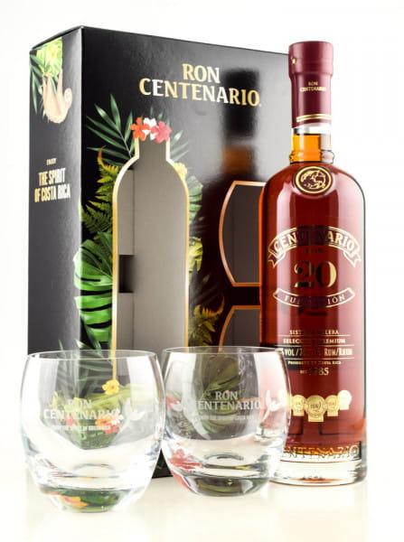 Ron Centenario 20 Jahre Fundación 40%vol. 0,7l mit zwei Gläsern