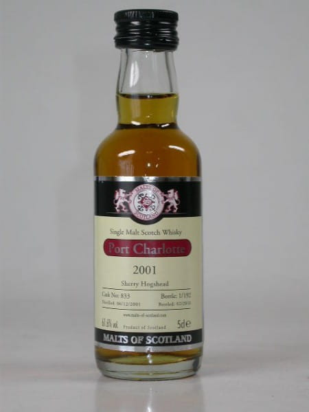 Port Charlotte 2001/2010 Sherry Hogshead Malts of Scotland 61,6%vol. 0,05l