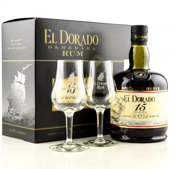 El Dorado 15 Jahre 43%vol. 0,7l mit zwei Gläsern