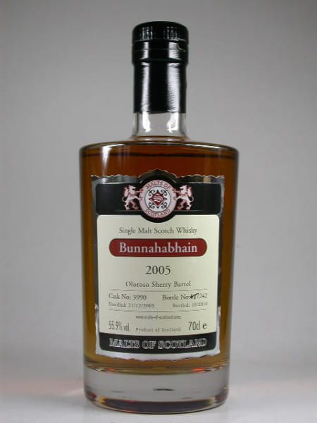 Bunnahabhain 2005/2010 Oloroso Sherry Barrel Malts of Scotland 55,9%vol. 0,7l