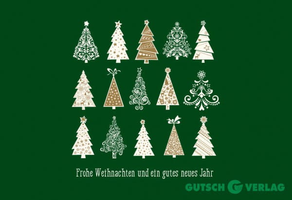 Weihnachtskarten Neutral.Christmas Greeting Card Merry Christmas Green Fir Trees
