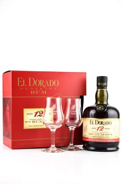El Dorado 12 Jahre 40%vol. 0,7l mit zwei Gläsern
