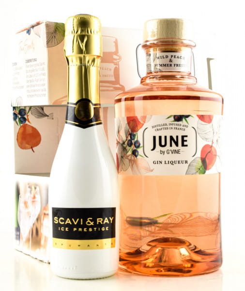 June by G' Vine Wild Peach Gin Liqueur 30%vol. 0,7l & Scavi & Ray Prosecco 0,2l