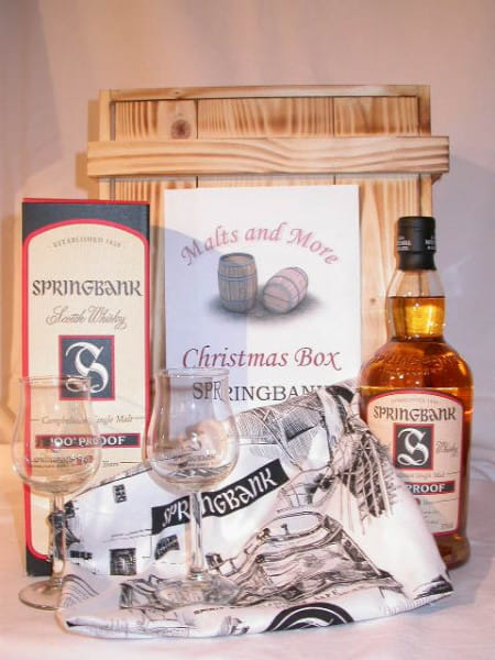 Springbank Christmas Box mit 2 Nosing-Gläsern und Bartuch