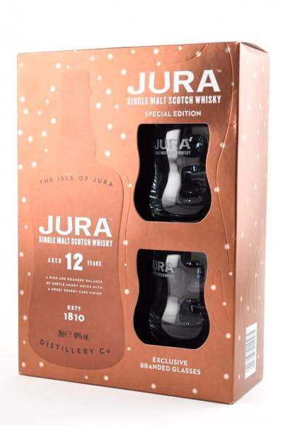 Jura 12 Jahre 40%vol. 0,7l - mit zwei Gläsern - Geschenkpackung leicht beschädigt