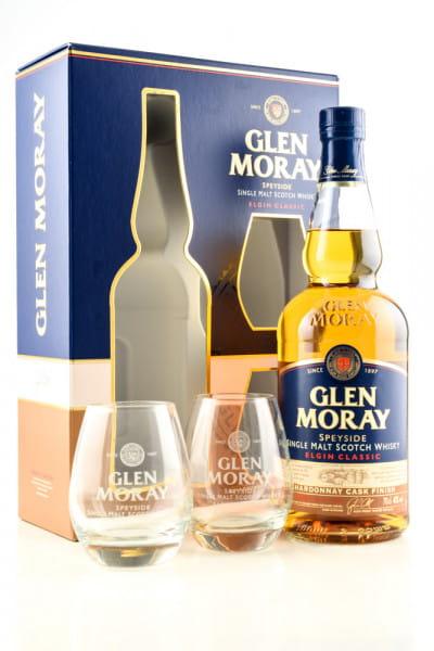 Glen Moray Chardonnay Cask Finish 40%vol. 0,7l mit 2 Gläsern