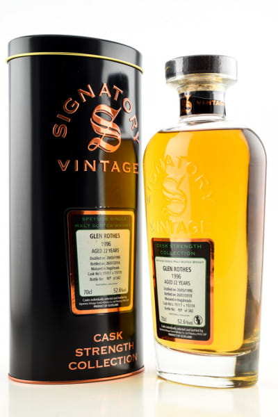 Glenrothes 22 Jahre 1996/2018 Hogsheads #15117 & #15119 Signatory Cask strength Coll. 52,6%vol. 0,7l
