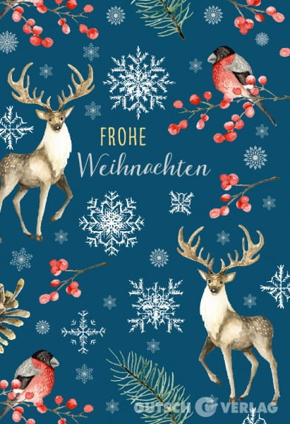 Weihnachtskarten Neutral.Christmas Greeting Card Merry Christmas Deer Bird Snowflake