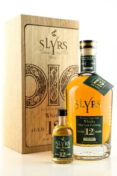Slyrs 12 Jahre Edition 2007 Islay Cask 43%vol. 0,7l + 0,05l Mini - im Eichenholzblock