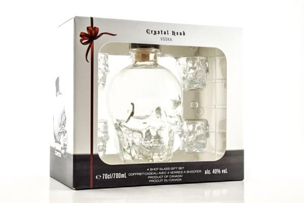Crystal Head Vodka 40%vol. 0,7l - mit 4 Gläsern