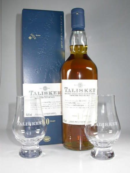 Talisker 10 Jahre 45,8%vol. 0,7l mit 2 Glencairn Gläsern (Christmas-Pack)