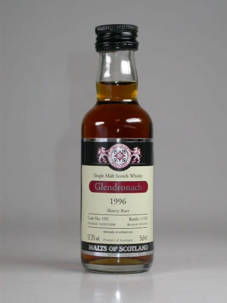Glendronach 1996/2010 Sherry Butt Malts of Scotland 57,2%vol. 0,05l