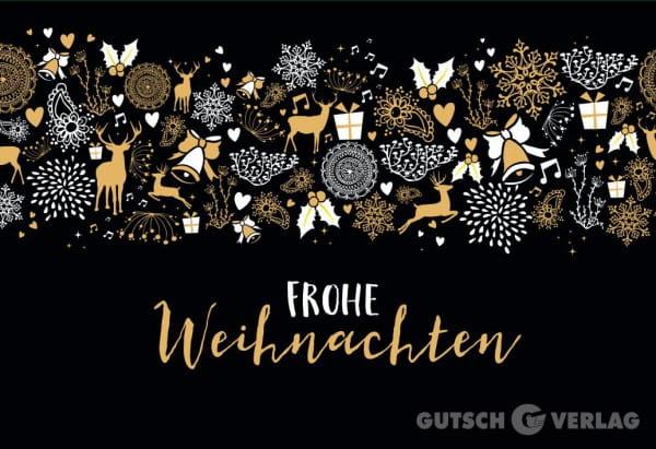 Weihnachtskarte Klappkarte - Frohe Weihnachten Schwarz / Gold