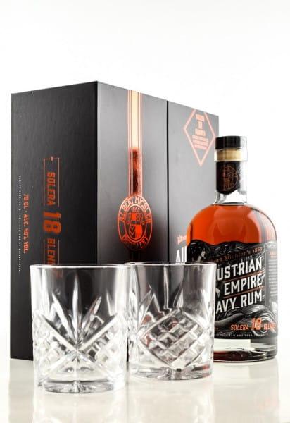 Austrian Empire Navy Rum Solera 18 40%vol. 0,7l mit zwei Gläsern