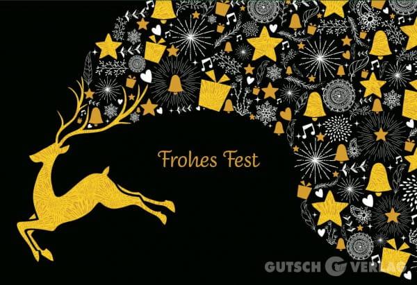 Weihnachtskarte Klappkarte - Frohes Fest Hirsch / Schwarz / Gold