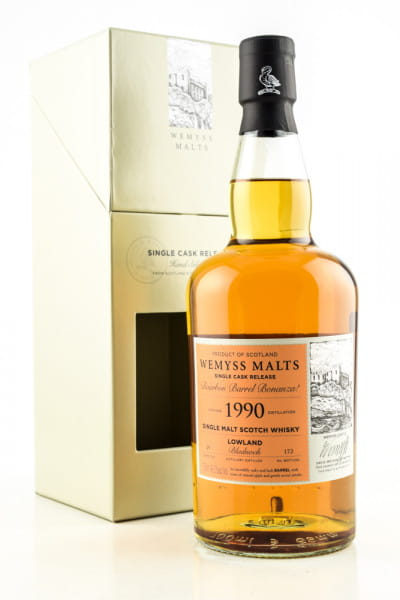 """Bourbon Barrel Bonanza!"" 1990 Single Bourbon Barrel Bladnoch Wemyss Malts 46%vol. 0,7l"