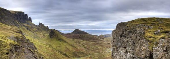 Gebirgszug Quiraing - Isle of Skye 120 x 40 cm auf Leinwand