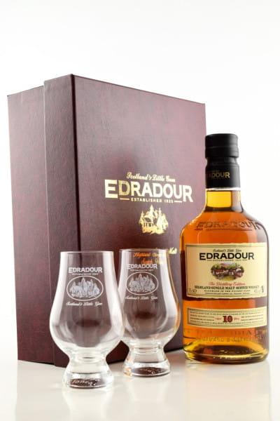 Edradour 10 Jahre Geschenkpackung mit 2 Gläsern 40%vol. 0,7l