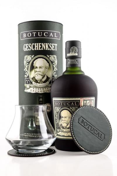 Botucal Geschenkset Reserva Exclusiva 40%vol. 0,7l mit Glas & 2 Lederuntersetzer