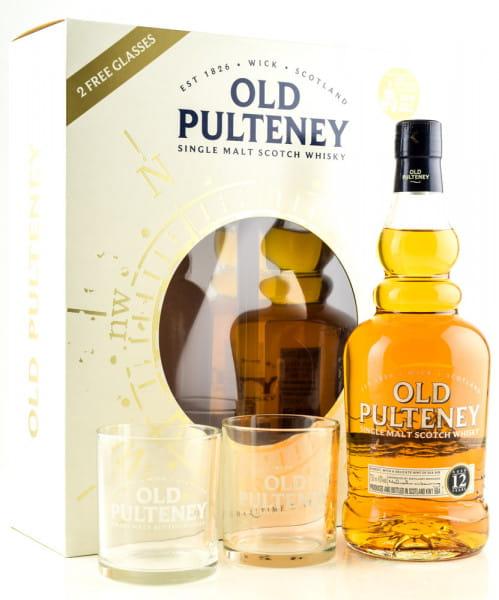 Old Pulteney 12 Jahre 43%vol. 0,7l mit 2 Gläsern - Geschenkpackung leicht beschädigt