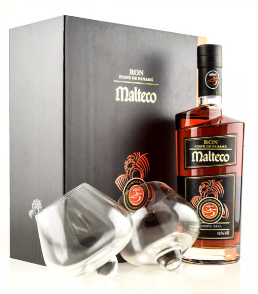 Malteco 25 Jahre 40%vol. 0,7l mit zwei Gläsern