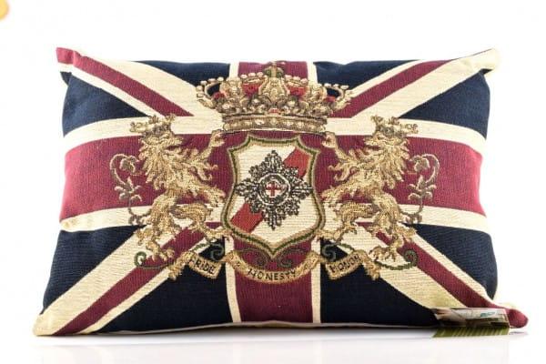 Großbritannien Kissen Union Jack mit Löwenwappen - Evans Lichfield ca. 45x33cm