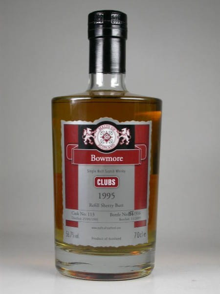 "Bowmore 1995/2009 Refill Sherry Butt ""Clubs"" Malts of Scotland 56,7%vol. 0,7l"