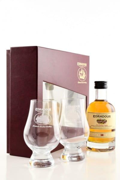 Edradour 10 Jahre Geschenkpackung mit 2 Gläsern 40%vol. 0,2l