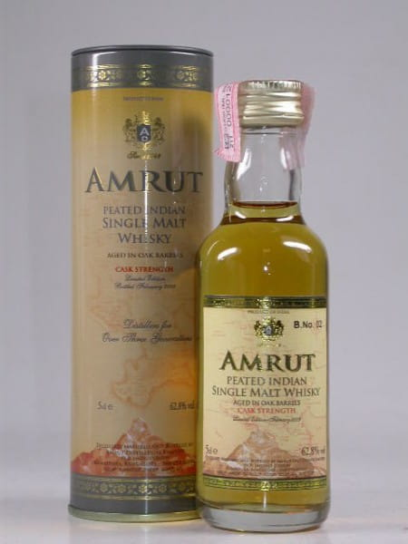 Amrut Peated Cask Strength Bottled February 2009 - Indien - 62,8%vol. 0,05l