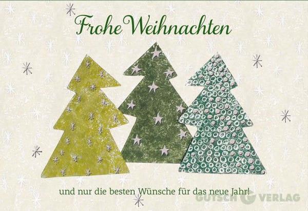 Weihnachtskarte Klappkarte - Frohe Weihnachten / Tannenbäume